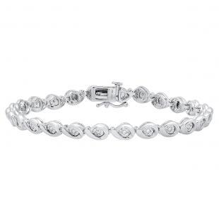 0.25 Carat (ctw) Sterling Silver Round White Diamond Ladies Bezel Bracelet 1/4 CT