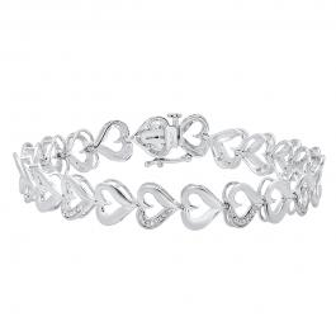 0.05 Carat (ctw) Sterling Silver Round White Diamond Ladies Heart Bracelet