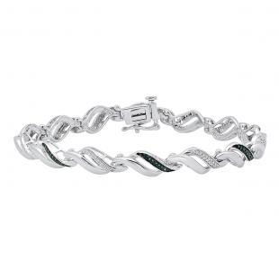 0.35 Carat (ctw) Sterling Silver Round Blue & White Diamond Ladies Infinity Tennis Bracelet 1/3 CT