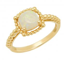 10K Yellow Gold 7 MM Cushion Opal Ladies Solitaire Beaded Engagement Ring