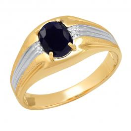 10K White & Yellow Gold 8X6 MM Oval Cabution Star Blue Sapphire & Round Diamond Mens Engagement Ring