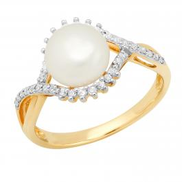 10K Yellow Gold 9 MM Round White Freshwater Pearl & White Diamond Ladies Split Shank Engagement Ring