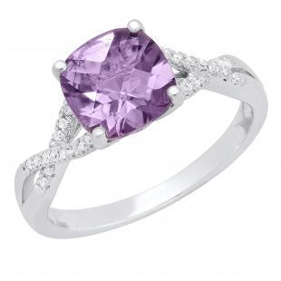 10K White & Rose Gold 8 MM Cushion Amethyst & Round Diamond Ladies Split Shank Engagement Ring