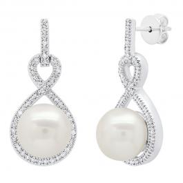 Sterling Silver 8 MM Each Round White Freshwater Pearl & Diamond Ladies Infinity Drop Earrings