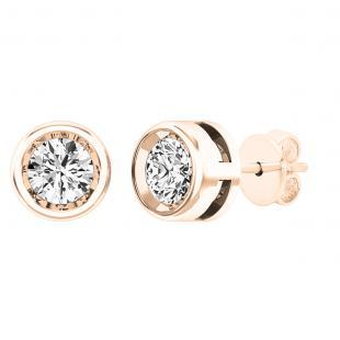 0.50 Carat (ctw) 10K Rose Gold Round White Diamond Ladies Solitaire Stud Earrings 1/2 CT