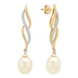 0.08 Carat (ctw) 10K Yellow Gold 8X7.5 MM Each Oval Pearl & Round Diamond Ladies Dangling Earrings