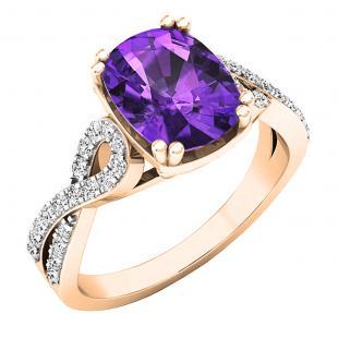 10K Rose Gold 9X7 MM Oval Amethyst & Round White Diamond Ladies Swirl Split Shank Engagement Ring