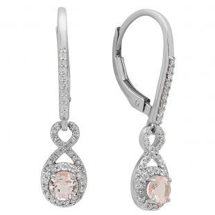 10K White Gold 4 MM Round Morganite & White Diamond Ladies Infinity Dangling Drop Earrings