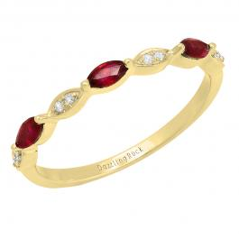 Marquise Ruby and Round Diamond Ladies Anniversary Wedding Band, 14K Yellow Gold