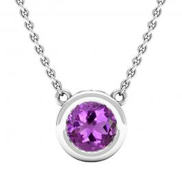 6.5 MM Round Amethyst Ladies Solitaire Pendant (Silver Chain Included), 10K White Gold