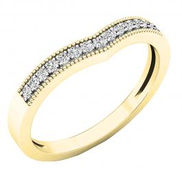 0.15 Carat (cttw) Round White Diamond Ladies Chevron Wedding Band, 14K Yellow Gold