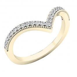 0.20 Carat (cttw) Round White Diamond Ladies Chevron Wedding Band 1/5 CT, 10K Yellow Gold