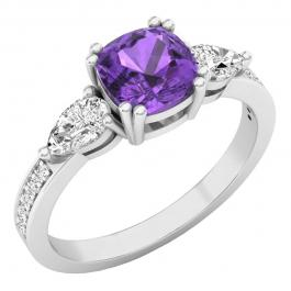 6 mm Cushion Amethyst, Pear White Topaz & Round Diamond Ladies Engagement Ring, 10K White Gold