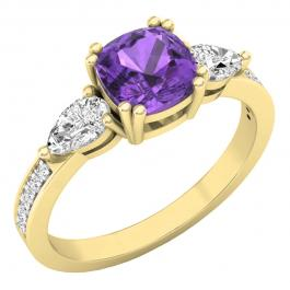 6 mm Cushion Amethyst, Pear White Topaz & Round Diamond Ladies Engagement Ring, 10K Yellow Gold