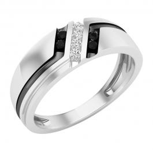0.20 Carat (cttw) Round Black & White Diamond Men's Wedding Band 1/5 CT, 18K White Gold