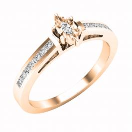 0.25 Carat (ctw) Marquise & Princess Diamond Ladies Bridal Engagement Ring 1/4 CT, 14K Rose Gold