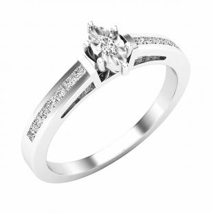 0.25 Carat (ctw) Marquise & Princess Diamond Ladies Bridal Engagement Ring 1/4 CT, 14K White Gold