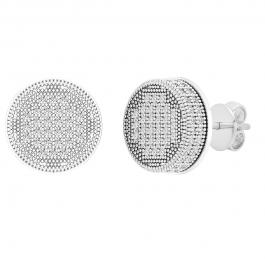 0.50 Carat (ctw) Round White Diamond Mens Cluster Stud Earrings 1/2 CT, Sterling Silver