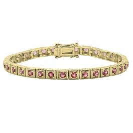 2.5 MM Round Pink Tourmaline Ladies Tennis Bracelet, 10K Yellow Gold