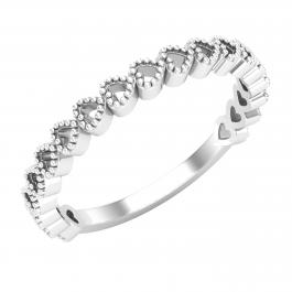 Heart Shape Ladies Anniversary Wedding Band, Sterling Silver