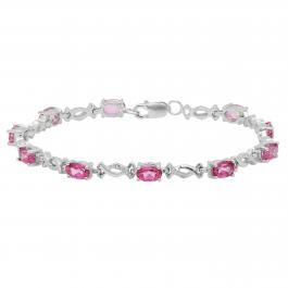 Oval Pink Topaz & Round White Diamond Ladies Infinity Link Bracelet, Sterling Silver