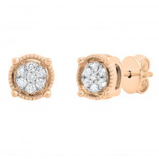 0.10 Carat (ctw) Round White Diamond Ladies Cluster Stud Earrings 1/10 CT, 18K Rose Gold