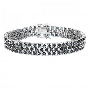 Round Blue Sapphire Tennis Bracelet, Sterling Silver