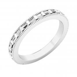 0.35 Carat (ctw) Baguette White Diamond Ladies Wedding Stackable Band 1/3 CT, Platinum