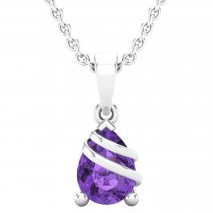 8X6 MM Pear Amethyst Ladies Swirl Teardrop Pendant (Silver Chain Included), Sterling Silver