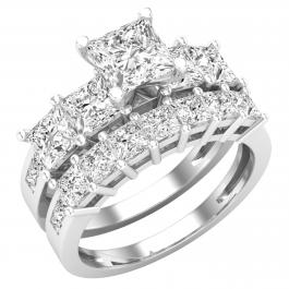 3.90 Carat (ctw) Princess White Diamond Ladies Bridal Five Stone Wedding Ring Set, Platinum