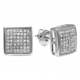 0.75 Carat (Ctw) Round Diamond Men's Square Stud Earrings 3/4 CT, Platinum Plated Sterling Silver