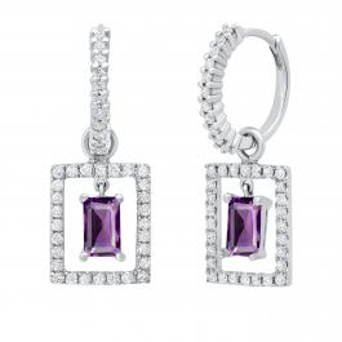 3.5MM X 4.5MM Emerald Amethyst & Round Diamond Ladies Huggies Dangling Earrings, 10K White Gold