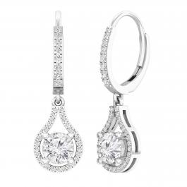 1.63 Carat (ctw) Round White Diamond Ladies Teardrop Frame Dangling Drop Earrings, 14K White Gold