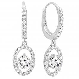 0.91 Carat (ctw) Round White Diamond Oval Frame Dangling Drop Earrings, 10K White Gold