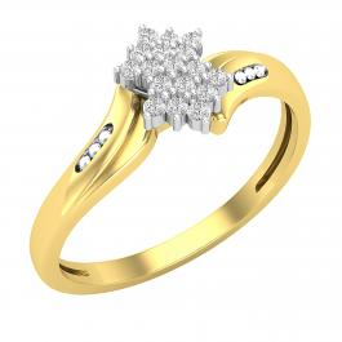 0.10 Carat (ctw) Round White Diamond Ladies Cluster Right Hand Ring 1/10 CT, 10K Yellow & White Gold