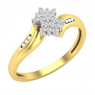 0.10 Carat (ctw) Round White Diamond Ladies Cluster Right Hand Ring 1/10 CT, 18K Yellow & White Gold