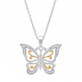 0.10 Carat (ctw) Round White Diamond Butterfly Ladies Pendant 1/10 CT, Yellow Plated Sterling Silver