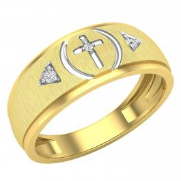 0.06 Carat (ctw) Round White Diamond Mens Cross Wedding Band, Yellow Gold Plated Sterling Silver