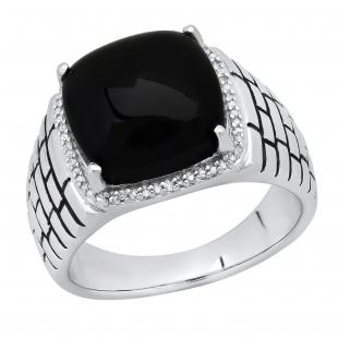 13X13 mm Cushion Cabochon Onyx & Round White Diamond Mens Anniversary Wedding Band, Sterling Silver