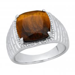 10 mm Cushion Tiger Eye Stone & Round White Diamond Mens Wedding Ring, Sterling Silver