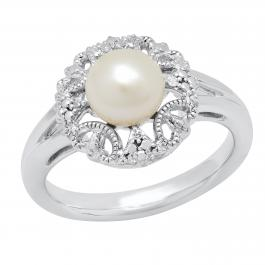 7MM Round White Freshwater Pearl With Diamond Accent Delightful Engagement Ring, 925 Sterling Silver