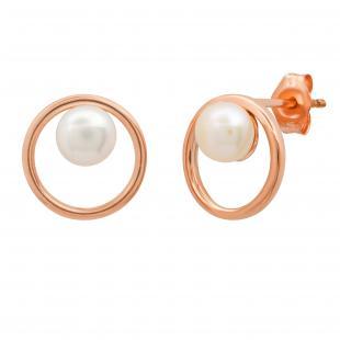5 MM Round White Freshwater Divine Birthstone Ladies Stud Earrings, 10K Rose Gold