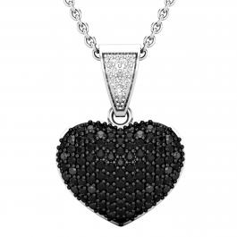 0.60 Carat (ctw) Round Black & White Diamond Ladies Heart Pendant, 925 Sterling Sliver
