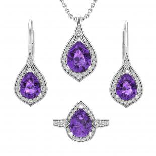Pear Amethyst & Round White Diamond Ladies Teardrop Earrings, Pendant & Ring Set, 925 Sterling Silver