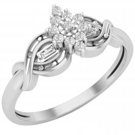 0.15 Carat (ctw) Round & Baguette White Diamond Ladies Cluster Cocktail Ring, 925 Sterling Silver