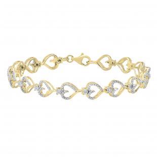 0.13 Carat (ctw) Round Diamond Journey of Heart Tennis Link Bracelet for Ladies   18K Yellow Gold