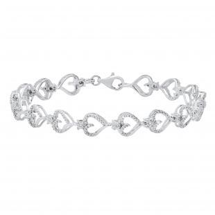 0.13 Carat (ctw) Round Diamond Journey of Heart Tennis Link Bracelet for Ladies   925 Sterling Silver