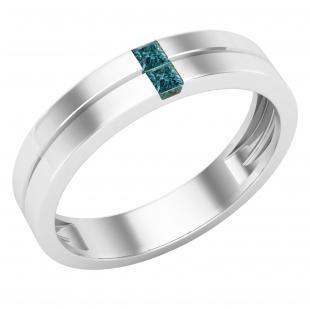 0.10 Carat (ctw) Princess Blue Diamond with Plain Line Mens Wedding Band 1/10 CT, Sterling Silver