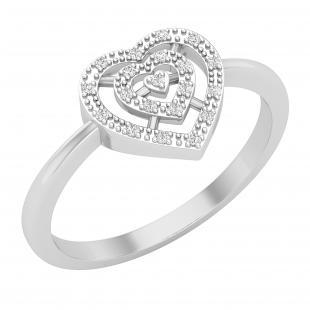0.05 Carat (ctw) Round White Diamond Slender Double Heart Love Promise Ring, 925 Sterling Silver