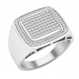 0.50 Carat (ctw) Round  White Diamond Classic Mirco-Pave Square Frame Mens Ring, 925 Sterling Silver